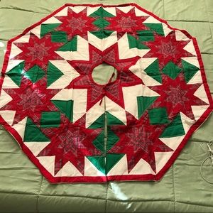 Other - Four Cornered Star Quilted Christmas Tree Skirt.